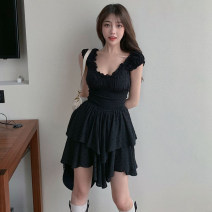 Dress Summer 2021 black S, M Short skirt singleton  Sleeveless commute other Solid color Irregular skirt camisole Retro 51% (inclusive) - 70% (inclusive) cotton