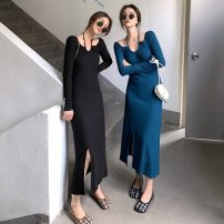 Dress Spring 2021 Blue, black Average size longuette singleton  Long sleeves commute other High waist Solid color Socket other routine Hanging neck style Retro 51% (inclusive) - 70% (inclusive) other cotton