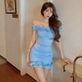 Dress Summer 2021 blue S, M Short skirt singleton  Short sleeve commute One word collar Solid color other Other / other Retro 51% (inclusive) - 70% (inclusive)