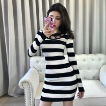 Dress Spring 2021 Black, striped Average size Short skirt singleton  Long sleeves commute Crew neck High waist Solid color Socket One pace skirt routine 18-24 years old Type H Korean version Splicing M325 71% (inclusive) - 80% (inclusive) knitting polyester fiber