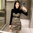 Dress Spring 2021 Picture color M, L Short skirt Fake two pieces Long sleeves commute Half high collar High waist Leopard Print Socket A-line skirt routine Others 51% (inclusive) - 70% (inclusive) cotton