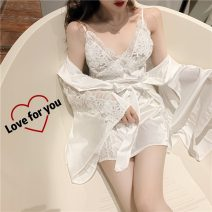 Pajamas / housewear set female Other / other Average size Black sling, white sling, black drape, white drape other Sleeveless summer V-neck Solid color 2 pieces 41% (inclusive) - 60% (inclusive) Short skirt