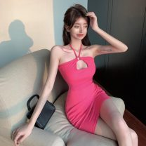 Dress Summer 2021 rose red Average size Short skirt singleton  Sleeveless commute One word collar middle-waisted Solid color Socket Pencil skirt Hanging neck style 51% (inclusive) - 70% (inclusive) cotton