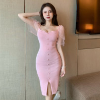 Dress Summer 2021 Black, pink Average size Middle-skirt singleton  Short sleeve commute One word collar middle-waisted Solid color Single breasted Pencil skirt other Others lady 51% (inclusive) - 70% (inclusive) cotton