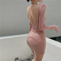 Dress Spring 2021 Grey, pink, black Average size Short skirt singleton  Long sleeves commute Crew neck Solid color Socket Pencil skirt routine Others Open back, chain 51% (inclusive) - 70% (inclusive) cotton