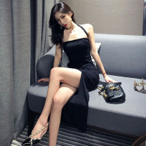 Dress Summer 2021 black Average size Mid length dress singleton  Sleeveless commute other High waist Solid color Socket One pace skirt other Hanging neck style 18-24 years old Other / other Korean version 81% (inclusive) - 90% (inclusive) knitting cotton