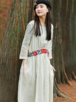 Dress Spring 2021 white S. M, l, XL, + 20 yuan customized short, do not support return Mid length dress singleton  Nine point sleeve commute Crew neck High waist Socket A-line skirt routine Others 30-34 years old Read you ethnic style More than 95% other hemp
