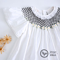 Dress White Black Embroidered tridimensional dress female Other / other 1y for height: 77-84cm, 2Y for height: 84-90cm, 3Y for height: 90-96cm, 4Y for height: 96-104cm, 5Y for height: 104-112cm, 6y for height: 112-120cm Cotton 100% cotton other LA