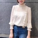 shirt Off white, violet, light blue 2 = s, 3 = m, 4 = L, 5 = XL Spring 2021 polyester fiber 96% and above Long sleeves commute Regular stand collar Socket routine Solid color Self cultivation Pinge Dixin Ol style Chiffon