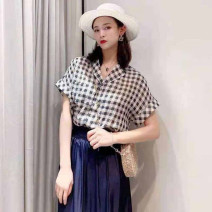 shirt lattice 2 / s, 3 / m, 4 / L, 5 / XL Summer 2021 polyester fiber 96% and above Short sleeve commute Regular Polo collar Single row multi button routine lattice Straight cylinder O'amash banner Ol style