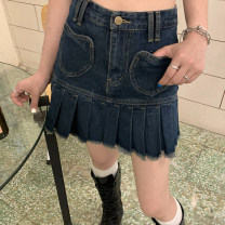 skirt Spring 2021 XS,S,M,L Denim blue Short skirt commute High waist Pleated skirt Solid color Type A 18-24 years old BD21QB007 91% (inclusive) - 95% (inclusive) Denim cotton pocket , Sticking cloth , zipper Korean version 351g / m ^ 2 (including) - 400g / m ^ 2 (including)