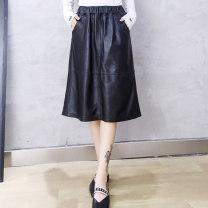 skirt Autumn 2020 M,L,XL,2XL,3XL black Mid length dress street Natural waist A-line skirt Solid color Type A More than 95% Sheepskin Sheepskin pocket Europe and America