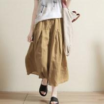 Casual pants khaki Average size Spring 2021 Ninth pants Wide leg pants High waist Versatile routine 25-29 years old 96% and above Gu family hemp fold hemp