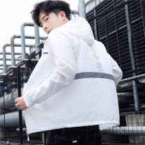 Jacket Other / other Youth fashion white 3XL,2XL,XL,L,M routine easy Other leisure summer J58 Long sleeves Wear out Hood Youthful vigor teenagers routine Zipper placket 2021 Straight hem washing Closing sleeve Geometric pattern Iced silk Splicing Side seam pocket acrylic fibres