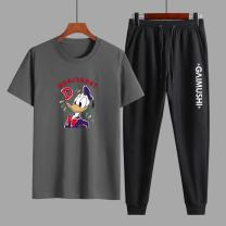 T-shirt Youth fashion White, black, red, light grey, dark grey routine 4XL,3XL,2XL,XL,L,M Others elbow sleeve Crew neck easy daily summer A6284 Large size routine Chinese style Sweat cloth 2021 Cartoon animation printing cotton Creative interest No iron treatment Fashion brand