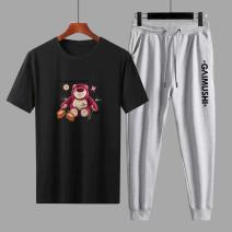 Leisure sports suit summer 3XL,2XL,XL,L,M,4XL Light gray, dark gray, white, red, black Short sleeve Other / other Ninth pants Large size T-shirt A6269 cotton 2021