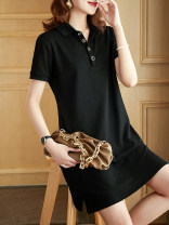 Dress Summer 2021 black M,L,XL,2XL,3XL,4XL longuette singleton  Short sleeve commute Polo collar Loose waist Solid color Socket A-line skirt routine 25-29 years old Type A Plain wood Ol style Button 51% (inclusive) - 70% (inclusive) cotton