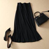 skirt Spring of 2018 black longuette Natural waist knitting