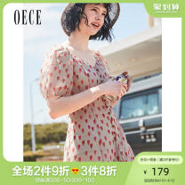 Dress Summer of 2019 Light coffee XS S M L Short skirt singleton  Short sleeve commute V-neck High waist other Single breasted A-line skirt bishop sleeve Others 25-29 years old Oece lady 192NS458 More than 95% Chiffon polyester fiber Polyester 100%