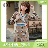 Dress Spring 2021 Light coffee S M L Short skirt singleton  Long sleeves commute V-neck High waist Animal design Socket routine Others 25-29 years old Oece lady 211LS711 81% (inclusive) - 90% (inclusive) knitting cotton Cotton 83.8% polyester 16.2%