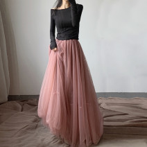 skirt Winter of 2019 90 cm, 100 cm Pink (velvet lining), black (velvet lining), red (velvet lining), red (Chiffon lining), black (Chiffon lining), pink (Chiffon lining) longuette Retro High waist Fairy Dress Solid color Type A 25-29 years old 71% (inclusive) - 80% (inclusive) velvet polyester fiber
