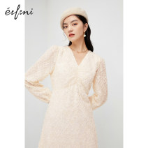 Dress Winter 2020 Beige beige presale Beige presale 1 155/80A/S 160/84A/M 165/88A/L longuette singleton  Long sleeves commute V-neck High waist Solid color zipper A-line skirt puff sleeve 25-29 years old Type X Eifini  Ol style Button 1BA998321 More than 95% polyester fiber Polyester 100%