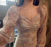 Dress Spring 2020 Apricot, light blue, black S,M,L Mid length dress singleton  Long sleeves V-neck High waist Broken flowers Other / other