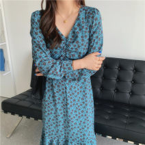 Dress Spring 2021 Picture color S,M,L,XL longuette singleton  Long sleeves V-neck High waist Broken flowers Type A Other / other