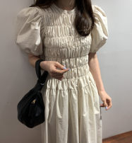 Dress Summer 2021 Apricot Average size Mid length dress singleton  Short sleeve Crew neck High waist Solid color Type A