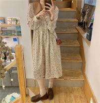 Dress Spring 2021 Picture color Average size Mid length dress singleton  Long sleeves Loose waist Broken flowers 71% (inclusive) - 80% (inclusive)