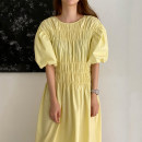 Dress Summer 2020 Yellow, black Average size singleton  Short sleeve commute Crew neck High waist Solid color bishop sleeve 18-24 years old Other / other Korean version