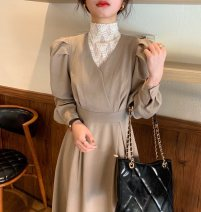 Dress Winter 2020 Camel, black Average size Mid length dress Fake two pieces Long sleeves High collar High waist Solid color Type A
