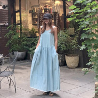 Dress Summer 2020 Light blue, dark blue Average size Mid length dress singleton  Sleeveless commute Crew neck Loose waist Solid color Socket Big swing other Others Other / other Korean version Denim