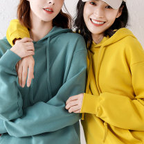 Sweater / sweater Autumn 2020 M,L,XL,2XL,3XL,4XL Long sleeves routine Socket singleton  routine Hood easy commute routine Solid color 96% and above Korean version cotton cotton