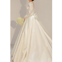 Wedding dress Autumn 2020 white S,M,L,XL,XXL Korean version Long tail Bandage other other satin Three dimensional cutting SD047 middle-waisted 18-25 years old