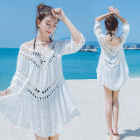 Lace / Chiffon Summer of 2018 White, off white, black Average size three quarter sleeve Versatile Cardigan singleton  easy Medium length Crew neck Solid color routine Other / other Open back, hollow out 71% (inclusive) - 80% (inclusive) cotton