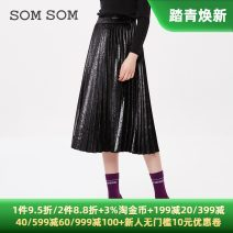 skirt Winter of 2019 155/60A,160/64A,165/68A,170/72A black Mid length dress grace Natural waist Pleated skirt Solid color 84C2033 More than 95% Sommer  polyester fiber