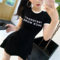 Dress Spring 2021 White, black Average size Short skirt singleton  Short sleeve commute Crew neck middle-waisted Solid color Socket A-line skirt Others 18-24 years old Type A Korean version
