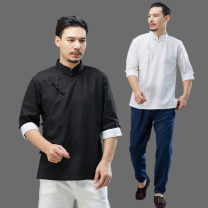 shirt Fashion City Mafan cloth clothes M,L,XL Black, white, gray blue Thin money stand collar elbow sleeve easy Other leisure summer Summer Chinese style 2021 hemp