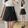skirt Summer 2021 S,M,L,XL black Short skirt Versatile High waist A-line skirt Solid color Type A 25-29 years old 31% (inclusive) - 50% (inclusive) other polyester fiber Asymmetric, button, zipper 401g / m ^ 2 (inclusive) - 500g / m ^ 2 (inclusive)