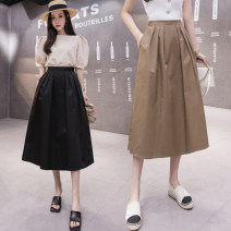 skirt Summer 2021 S,M,L,XL,2XL Khaki, apricot, black Mid length dress Versatile High waist A-line skirt Solid color Type A 25-29 years old 31% (inclusive) - 50% (inclusive) other cotton fold 401g / m ^ 2 (inclusive) - 500g / m ^ 2 (inclusive)