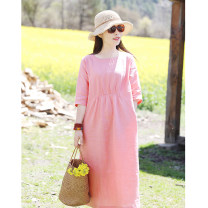 Dress Summer 2021 Pink (in stock) 【S】,【M】,【L】 Mid length dress singleton  elbow sleeve commute Crew neck Loose waist Solid color Socket routine Type A Ten Mu rice literature fold More than 95% other hemp