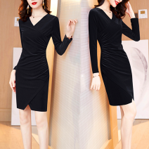 Dress Autumn 2020 Mid length dress singleton  Long sleeves commute V-neck middle-waisted Solid color Socket A-line skirt routine Others 25-29 years old Type A Korean version Fold, asymmetric 669# 71% (inclusive) - 80% (inclusive) other polyester fiber