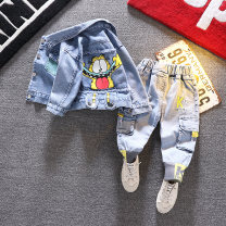 suit 90cm,100cm,110cm,120cm,130cm male spring and autumn Korean version Long sleeve + pants 2 pieces routine No model Single breasted nothing Cartoon animation Denim children Expression of love Class B 2 years old, 3 years old, 4 years old, 5 years old, 6 years old