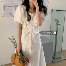 Dress Summer 2021 Sky blue, white, pink, green, yellow Average size Mid length dress singleton  Short sleeve commute Crew neck High waist Solid color Socket A-line skirt puff sleeve Others 18-24 years old Type A Korean version Button, fold 51% (inclusive) - 70% (inclusive)
