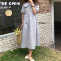 Dress Summer 2021 Blue, pink Average size Mid length dress singleton  Short sleeve commute Doll Collar High waist Decor zipper other Others 18-24 years old Type A Korean version 51% (inclusive) - 70% (inclusive) cotton