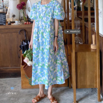 Dress Spring 2021 Light purple, blue Average size Mid length dress singleton  Short sleeve commute Crew neck High waist Decor other A-line skirt other Others 18-24 years old Type A Korean version 51% (inclusive) - 70% (inclusive) other other