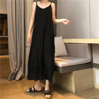 Dress Summer of 2019 White, black Average size Mid length dress singleton  Sleeveless commute V-neck Loose waist Solid color Socket other other camisole 18-24 years old Other / other Korean version fold 51% (inclusive) - 70% (inclusive)