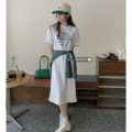 Dress Summer 2021 White long T, apricot long T, green Cape Average size Mid length dress singleton  Short sleeve commute Crew neck Socket routine 18-24 years old Korean version 51% (inclusive) - 70% (inclusive) other