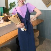 Fashion suit Summer 2021 S. M, l, average size Purple short sleeve, dress 18-25 years old 51% (inclusive) - 70% (inclusive)